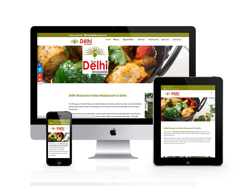 Delhi Brasserie Indian Restaurant Responsive Website by Customology