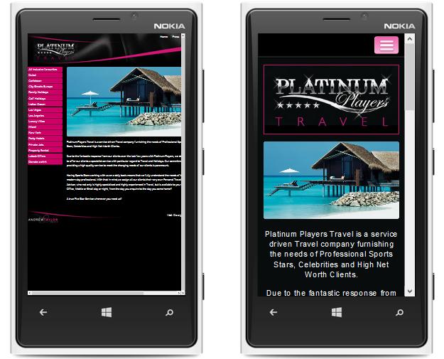 Platinum Players Mobile Website Demo