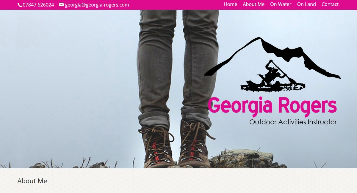 Responsive website for Georgia Rogers, Outdoor Activities Instructor