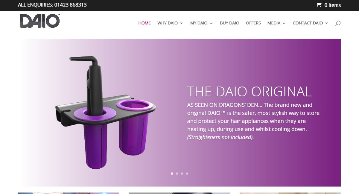 A Responsive Website for The DAIO Hair Appliance Organiser