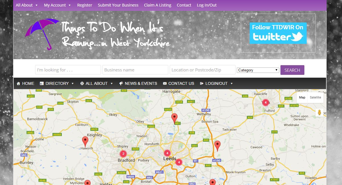 Responsive website for Things To Do When It's Raining - Local Business Directory